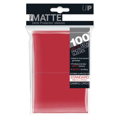 Ultra Pro Pro-Matte Deck Protector Standard Sleeves, Red Bundle (10x, 100ct)