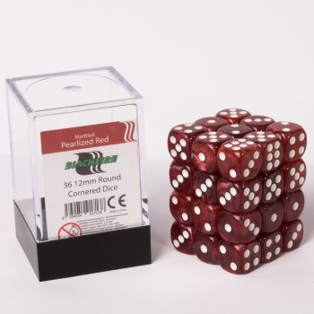 Blackfire Dice Cube, 36x 12mm D6, Marbled Pearlized Red