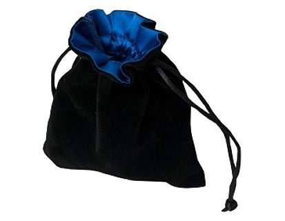 Blackfire Velvet Dice Bag with Satin Lining: Black with Blue