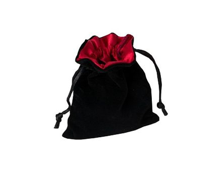 Blackfire Velvet Dice Bag with Satin Lining: Black with Red