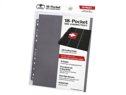 Ultimate Guard 18 Pocket Side-Loading Binder Page, Grey (10pcs)