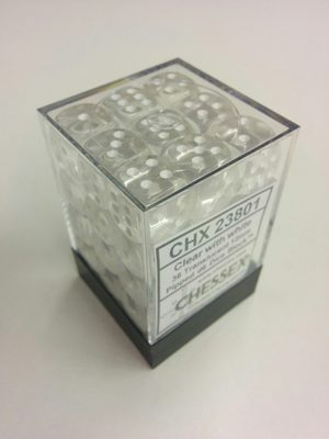Chessex Dice Set 36xD6 12mm, Translucent Clear with White Pips