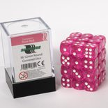 Blackfire Dice Cube, 36x 12mm D6, Transparent Rose Red