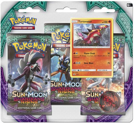 Pokemon SM2: Sun & Moon Guardians Rising 3-Pack Blister: Turtonator