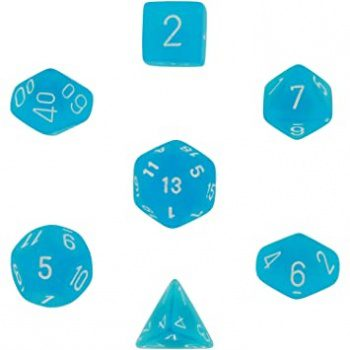 Chessex Dice Set 7x Polyhedral, Frosted Caribbean Blue with White Pips