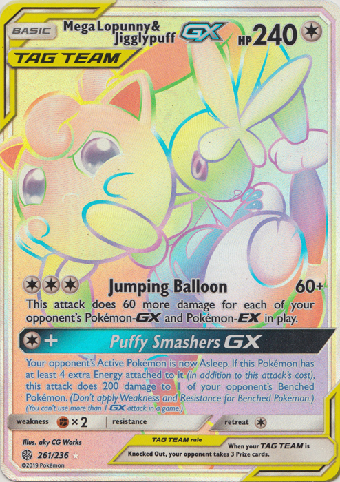 SM Cosmic Eclipse Pokemon Mega Lopunny /& Jigglypuff GX 165//236 Half Art