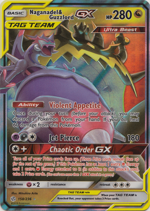 Naganadel /& Guzzlord GX Ultra Rare NM Cosmic Eclipse 158//236 Pokemon TCG